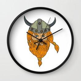 Norseman Viking Warrior Head Drawing Wall Clock