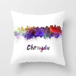 Lagos skyline in watercolor Throw Pillow