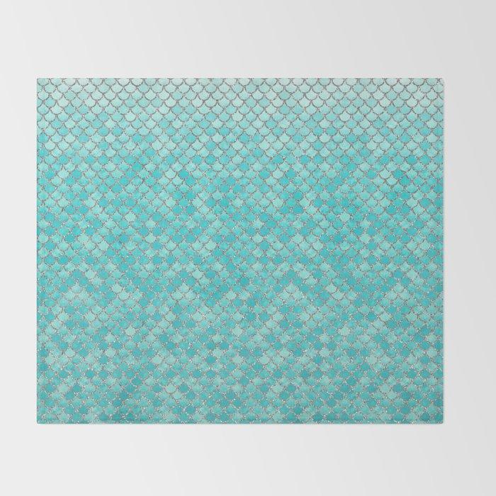 Teal Mermaid Scales Throw Blanket