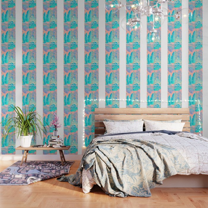 Tropics ( monstera and banana leaf pattern ) Wallpaper