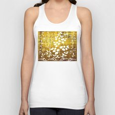 White leaves decor on golden background Unisex Tank Top