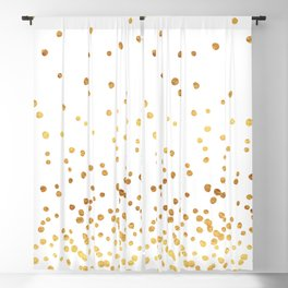 Floating Dots - Gold on White Blackout Curtain