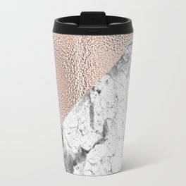 Dramatic white stone with rose gold foil Travel Mug