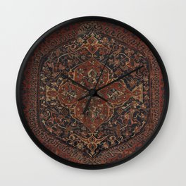 Boho Chic Dark IV // 17th Century Colorful Medallion Red Blue Green Brown Ornate Accent Rug Pattern Wall Clock