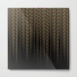 Jamatrix Red Gold and Green Neon Matrix Code Metal Print
