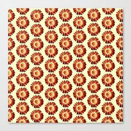 Red Yellow  Daisy Pattern,Retro Canvas Print