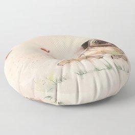 The Furminator pug watercolor like art Floor Pillow