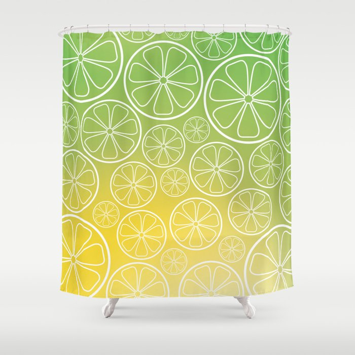 Citrus Slices Green Yellow Shower Curtain