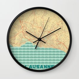 Lausanne Map Retro Wall Clock