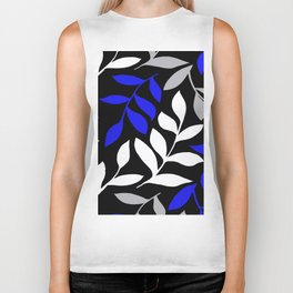 BLUE leaf Black leaf  Gray leaf Pattern Biker Tank