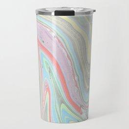 Pink coral mint green aqua watercolor abstract marble pattern Travel Mug