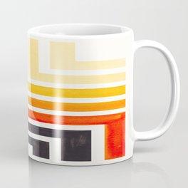 Orange Mid Century Modern Watercolor Colorful Ancient Aztec Art Pattern Minimalist Geometric Pattern Coffee Mug