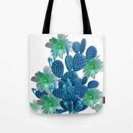 SURREAL BLUE PEAR CACTUS & FLOWERS DESERT ART Tote Bag