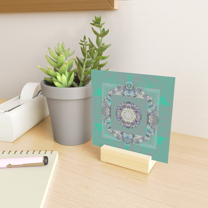 Heart Source Meditation Luminescent Green Boho Mandala Mini Art Print