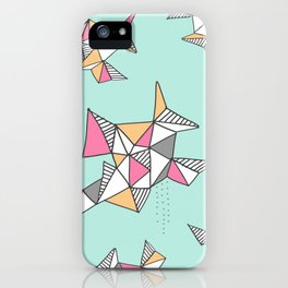Geometric Design, Teal and Pink Triangles iPhone Case