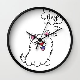 Samoyed dog Puppy Doggie Gift Present Dow-Owner Wall Clock