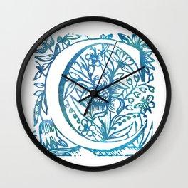 Letter C Antique Floral Letterpress Monogram Wall Clock