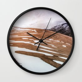 Desert Snow II - Great Sand Dunes National Park Wall Clock