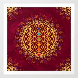 FLOWER OF LIFE, CHAKRAS, SPIRITUALITY, YOGA, ZEN, Art Print