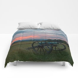 Gettysburg Cannon Sunset Comforters