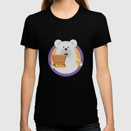 Polar Bear with Pizza in cirlce T-shirt