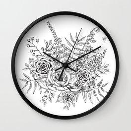 B&W Floral Arrangement Wall Clock