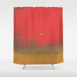 World Trade Center with Helicopters 1998 Shower Curtain