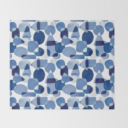 Blue Watercolour Geometric Throw Blanket
