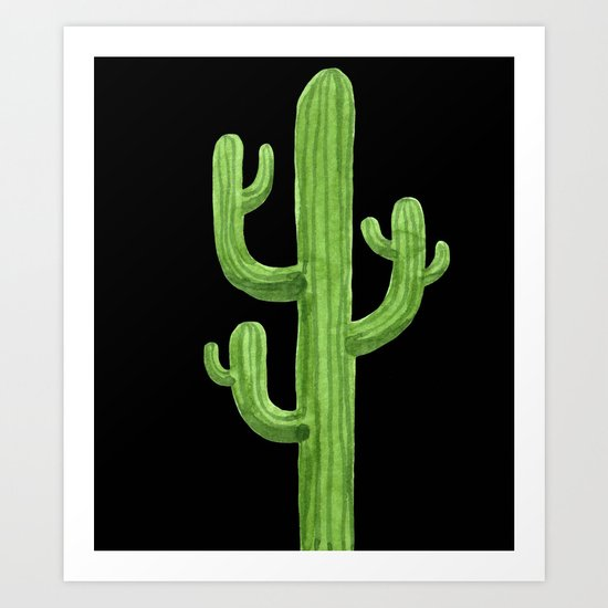 Green Cactus on Black Art Print