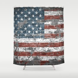 american flag on the brick Shower Curtain