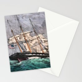 12,000pixel-500dpi - Nathaniel Currier - US Sloop of War Albany - Digital Remastered Edition Stationery Cards