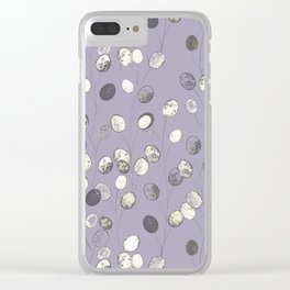 Honesty Flower Seed Heads on Purple Clear iPhone Case