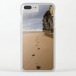 Footprints in the Sand Clear iPhone Case