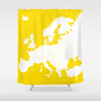 europe Shower Curtains featuring EUROPE YELLOW by SebinLondon