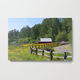 Red Barn in Yellow Wildflower Field Metal Print