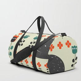 Cats napping between flowers Duffle Bag