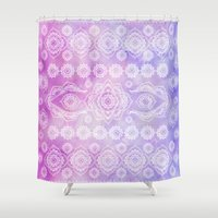 persian Shower Curtains featuring watercolor persian by Julie Laure