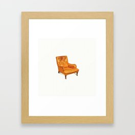 ARMCHAIR walnut, leather 19th century  circa 1880.in watercolor Framed Art Print