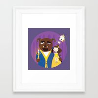 beauty and the beast Framed Art Prints featuring Beauty and beast by Maria Jose Da Luz