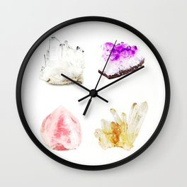 crystals watercolor Wall Clock