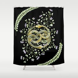 Neverending Story Inspired Auryn Garden in Black Shower Curtain