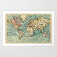 vintage map Art Prints featuring Vintage map by Hipster's Wonderland