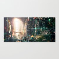 sci fi Canvas Prints featuring Sci fi china town by David Cheung