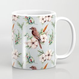 Bird with autumn bouquet. Watercolor Coffee Mug