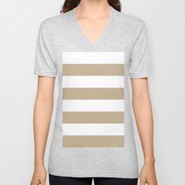 Wide Horizontal Stripes - White and Khaki Brown Unisex V-Neck