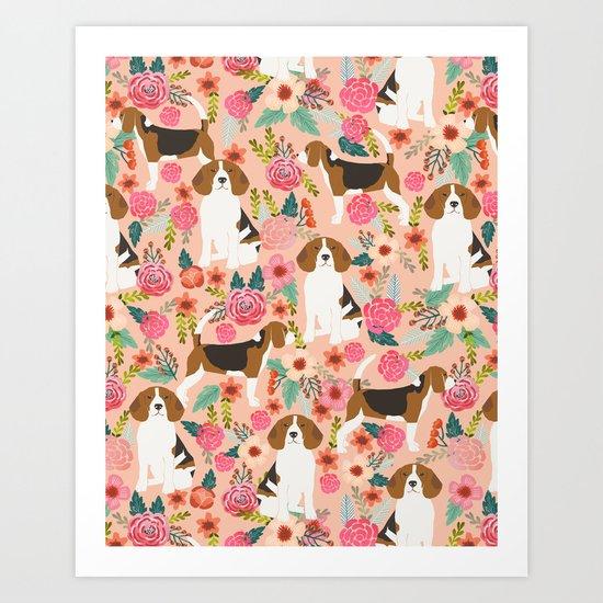 Beagle florals cute pet portrait pattern garden spring summer dog lover pet gift dog art fur baby Art Print