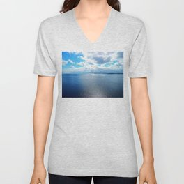 PEI Coastline, seen from the top of the lighthouse in Souris Unisex V-Neck