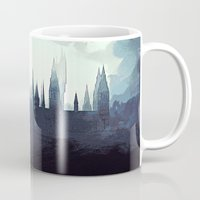 harry potter Mugs featuring Harry Potter - Hogwarts by Juniper Vinetree