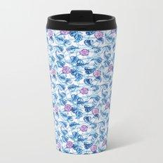 Ipomea Flower_ Morning Glory Floral Pattern Metal Travel Mug
