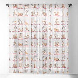English Bulldog Yoga Watercolor Sheer Curtain